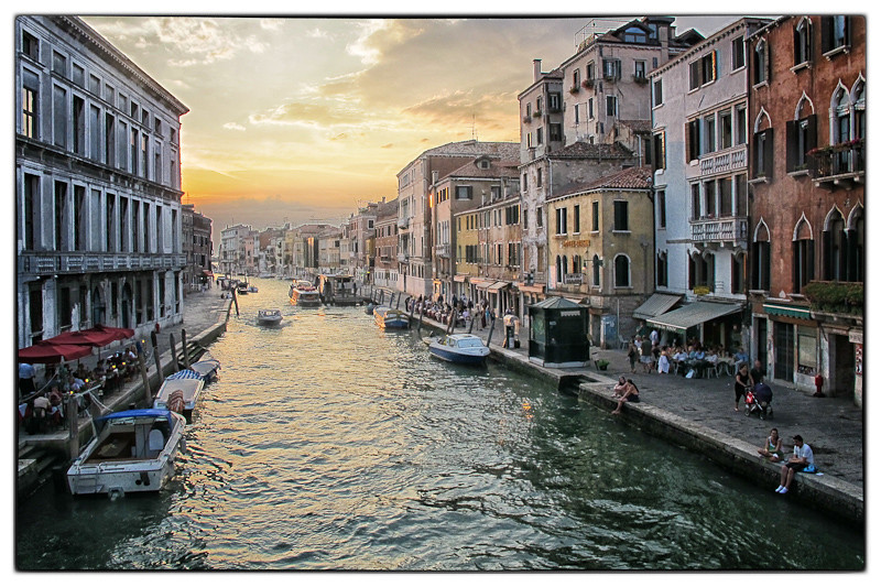Sunset from the Ponte delle Guglie over the Canale di Cannaregio, Venice