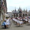 Lunchtime in St Marks Square in Venice Italy