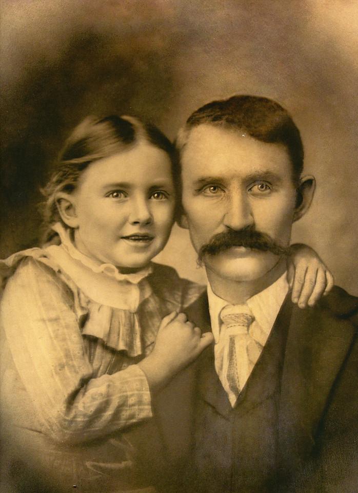 000 Eva's mother, Grace Elva Estes, with her father, Jacob Estes  c 1900