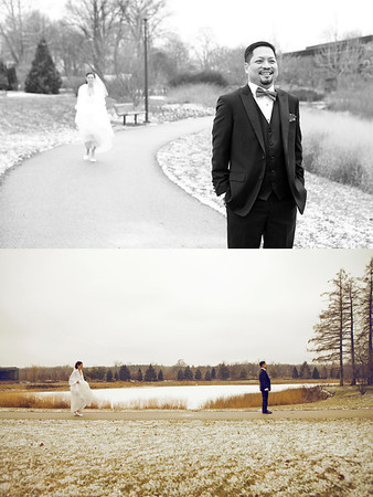 ALLISON + DERICK First Look  (Bottom photo by Second Photographer Marcin Tomaszczyk for Michelle Wodzinski Photography & Film)
