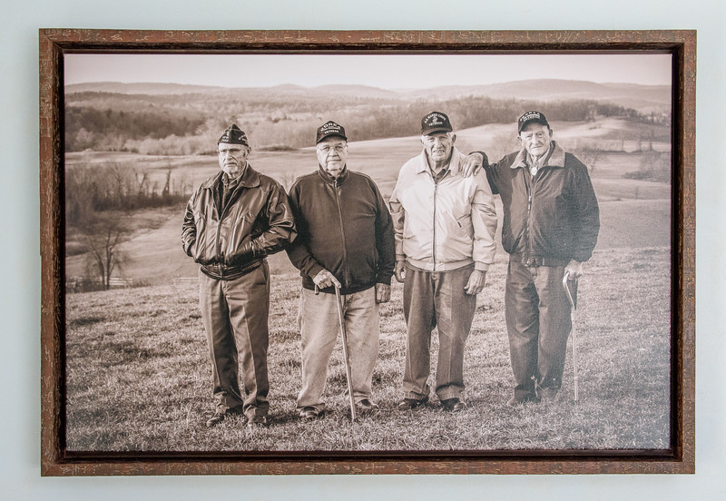 "Ancram veterans Gerald Roberts, Bob Grayson, Ron Van Tassel, and Avery ""Prope"" Dietter photographed by B. Docktor at Fox Hill Farm, Ancramdale, 2016. Framed for Ancram Town Hall."