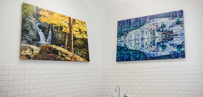 Yes, you can bring nature's beauty to the restroom too! Bash Bish Falls and Maple Tree; Rock Reflection;