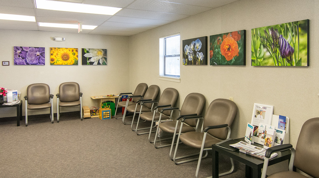 Patients say they feel uplifted when they walk into this space with images of nature
