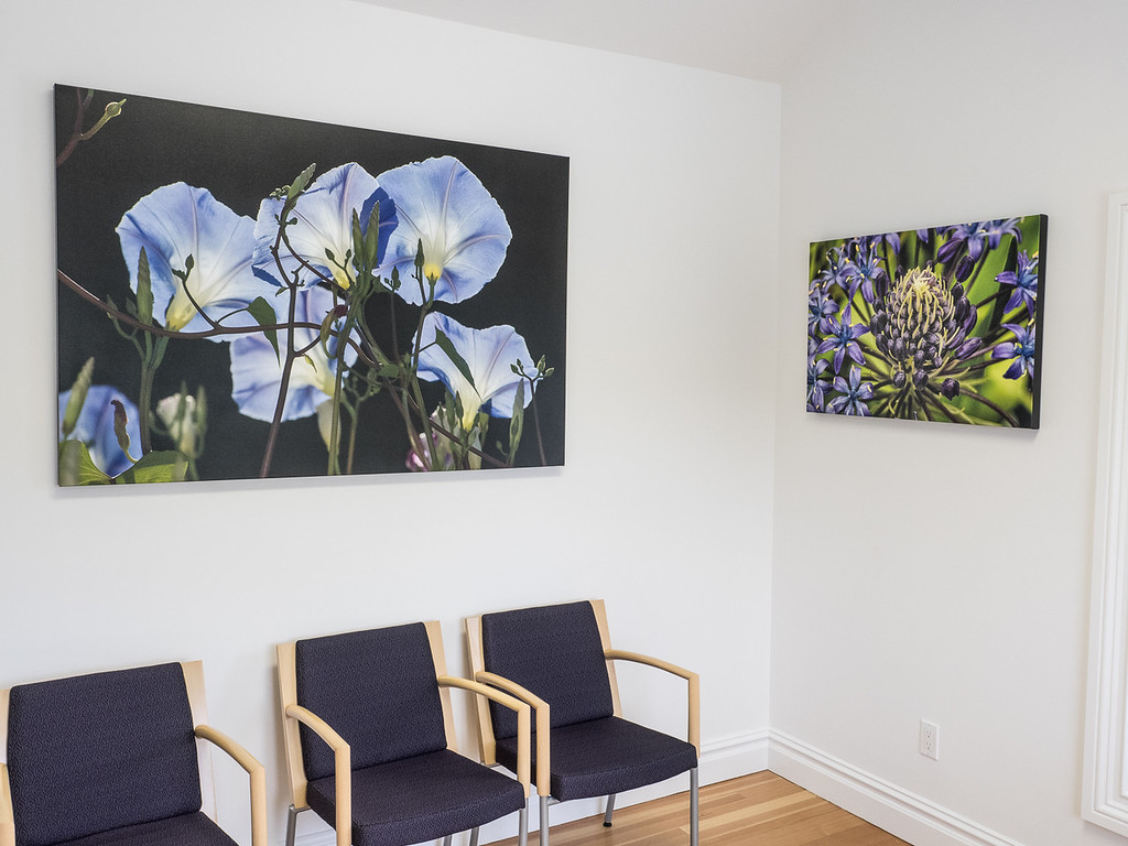 Custom-printed wall art perfectly fits the space and decor at Ettinger Law Firm in Southampton, NY