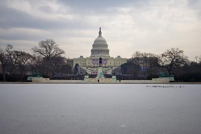 Capitol across frozen Reflection Pool