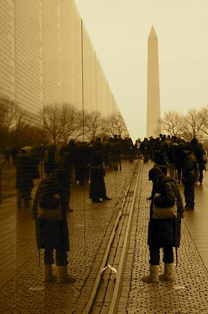 Vietnam Veterans Memorial Wall and Washington Monument