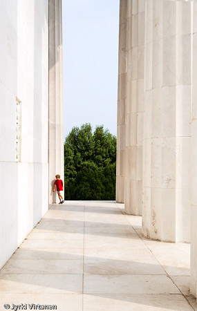 Boy with Red Shirt on Lincoln Memorial - Washington, DC, USA