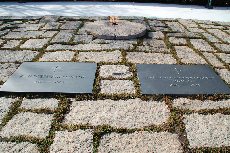 JFK and Jackie's grave markers & the Eternal Flame