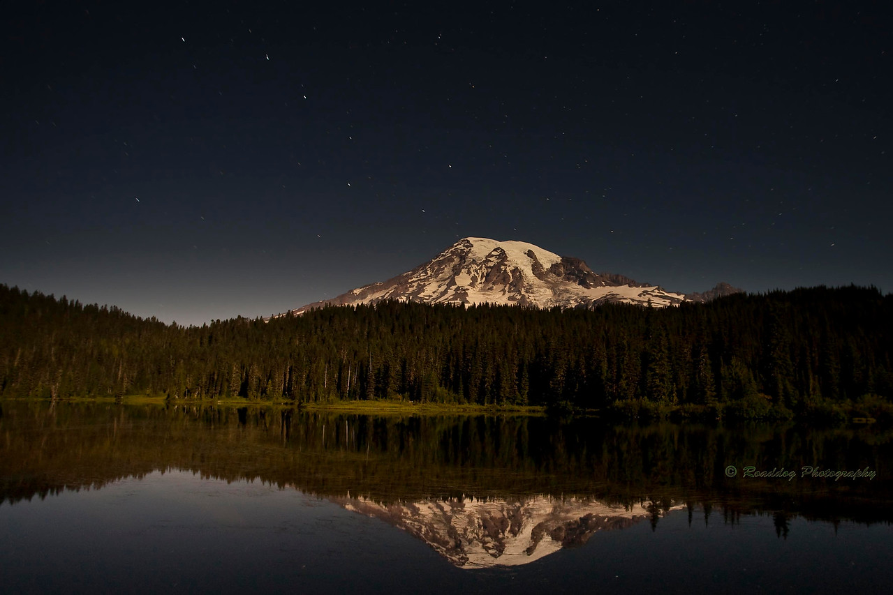 Mt Rainier under full moon