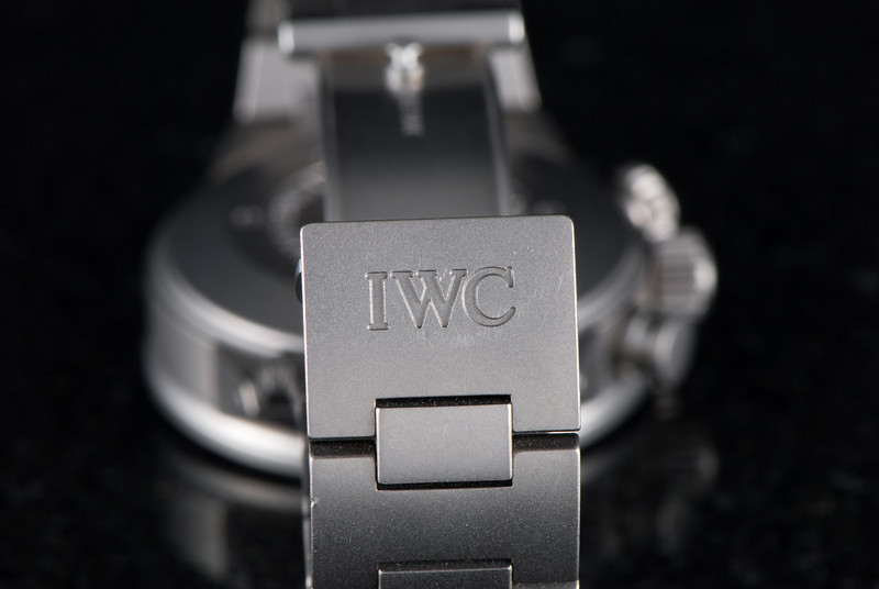 The IWC logo on the bracelet clasp.  Notice there are already a couple surface scratches.  Such is life with a titanium watch.