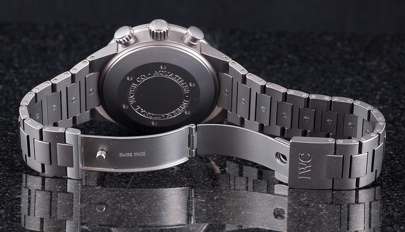 IWC Aquatimer Titanium Chronograph on bracelet.  View from the back with the clasp open, just to show there's nothing hiding there.