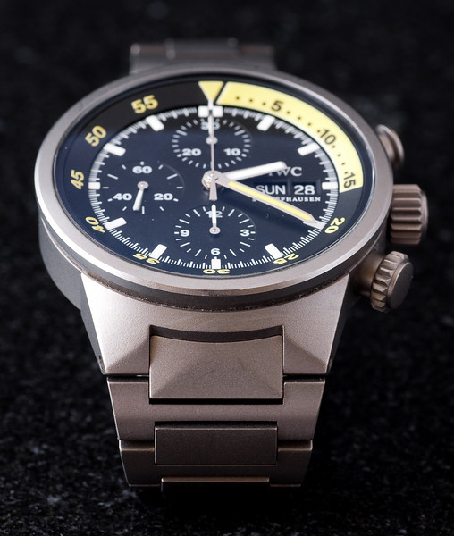 """IWC Aquatimer Titanium Chronograph on bracelet.  The only """"nick"""" I'm aware of is that little mark near the 6 o'clock marker on the outside edge of the bezel."""