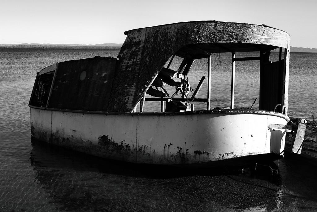 Sunken fishing boat on Batchewana Bay
