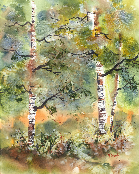 "Fall Birch Series #1, watercolor, 11"" x 14"""