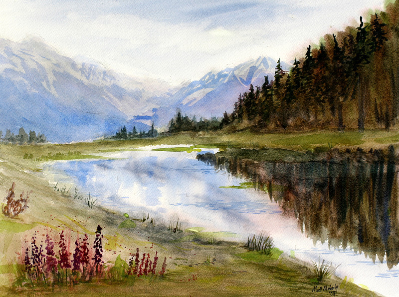 "Reflections Near Portage, watercolor, 11"" x 14"""