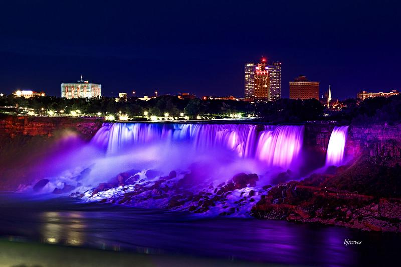 The American side of Niagara Falls at night.