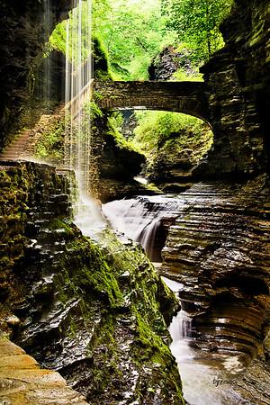 Waterfall Rainbow Falls in Watkins Glenn
