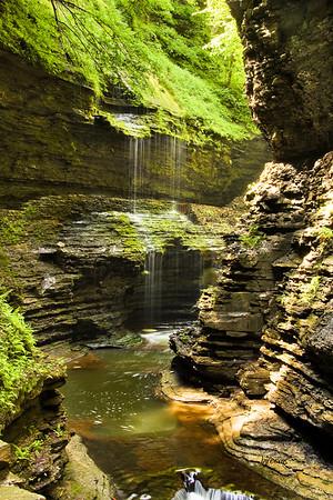 Waterfall Rainbow Falls in Watkins Glenn State Park.