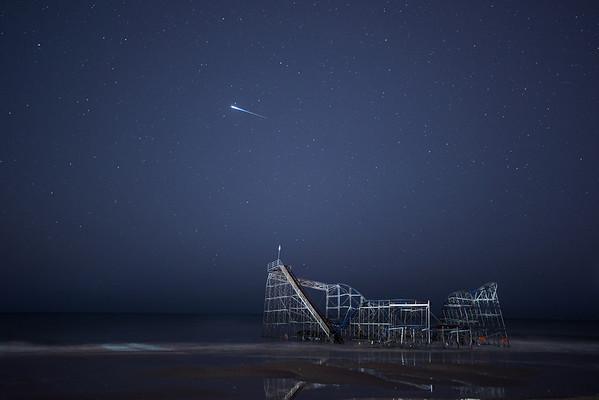 #367 Satellite Flare Over Coaster, Seaside Heights, NJ (post Hurricane Sandy).