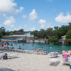 Part of the Buccaneer Bay beach at Weeki Wachee's water park. Swim in natural spring waters that remain at a chilly 74 degrees year-round.