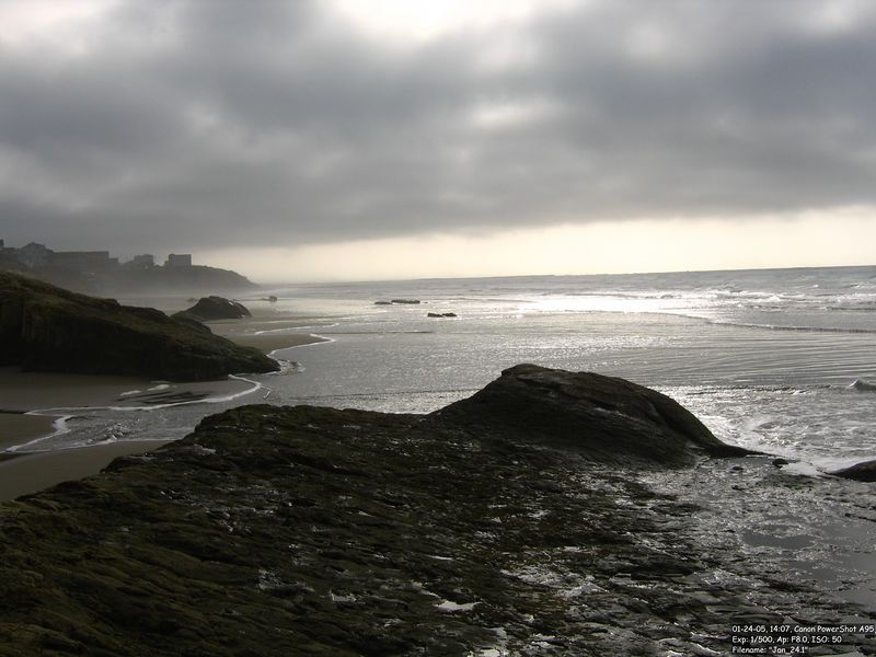"Nye Beach. ""Bright"" cloudy day."