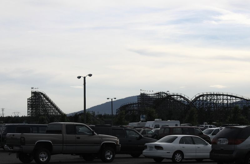 The wooden roller coasters of Silverwood Theme Park at the end of the day.