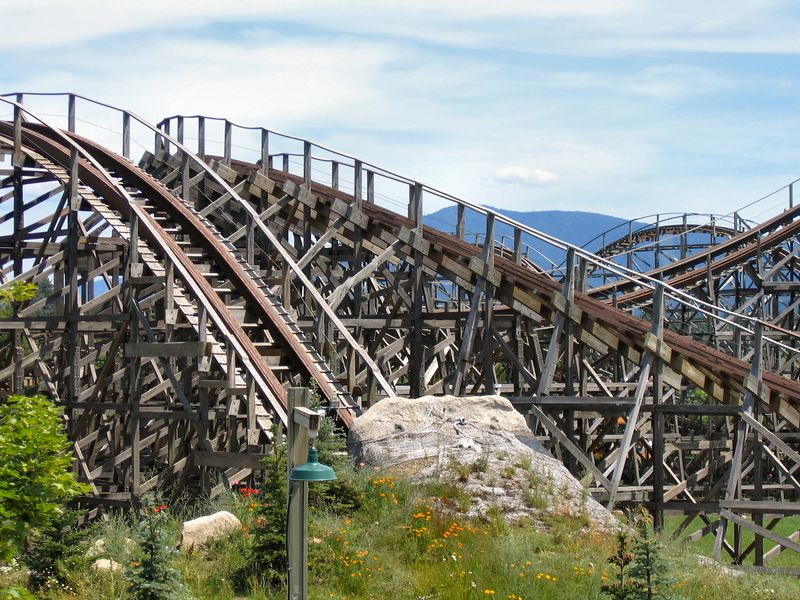 """Tremors"" Roller Coaster close-up, Silverwood Theme Park, N. Idaho."