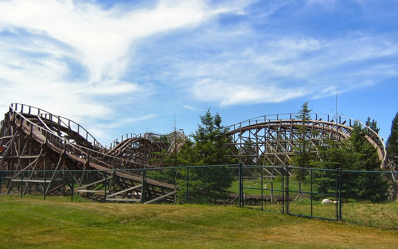 """""""Tremors,"""" a wooden roller coaster in the Silverwood Theme Park, N. Idaho."""