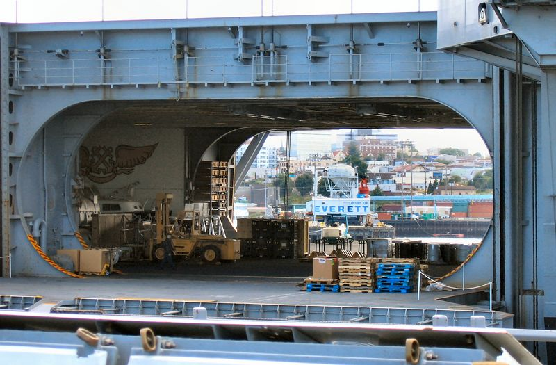 The city of Everett, WA, viewed through the hanger deck of the USS Abraham Lincoln, CVN-72.