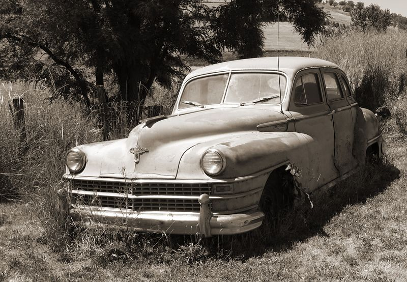 Old Dodge just outside Dayton, Washington. This time in sepia.
