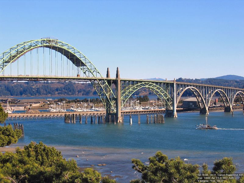 The bridge over Yaquina Bay on a gorgeous day.