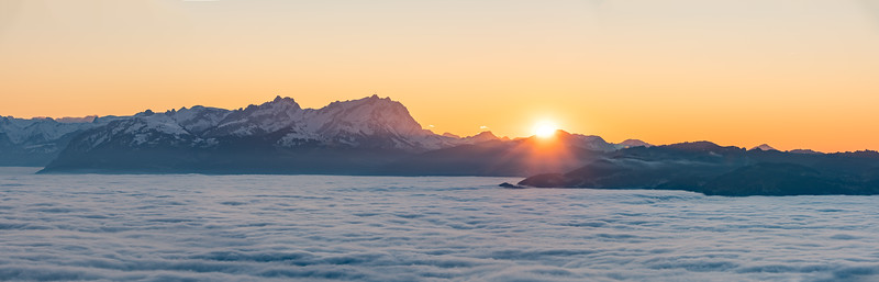 Pfänder mit Blick auf die Schweizer Berge