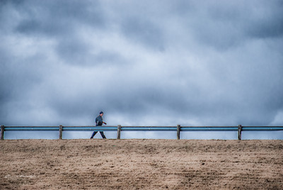 Solitary Man Gets His Walk In on a Blustery Day @ Hoover Dam