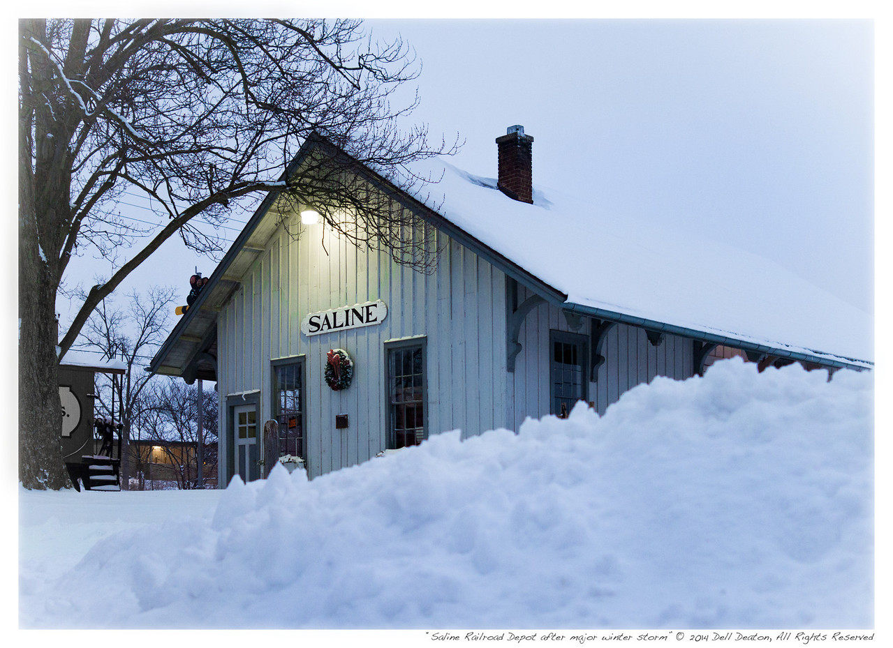 Saline Railroad Depot, just after the first major snowstorm of 2014