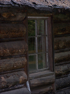 Old log cabin window, Garnet Ghost Town, MT