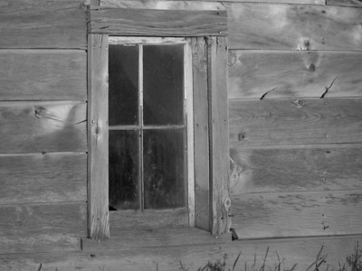 Window of old barn in Beach, North Dakota