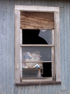 """Sorry, we are closed"".  Window at the grain elevator, Grainville, ID. 11.08"