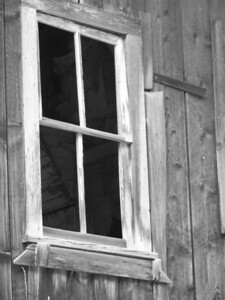 Old cabin window. Garnet Ghost Town, Montana.