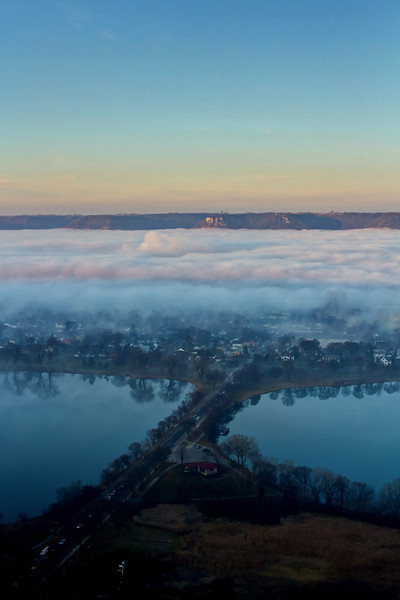 Low hanging fog over Winona, MN.