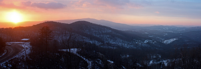 Winter sunrise over Gillespie Gap by the Blue Ridge Parkway