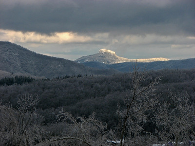 Table Rock with snow.  Taken from the Blue Ridge Parkway near Little Switzerland