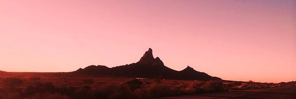 Sunset along I-10 at Picacho Peak, AZ, jan 9, 2016