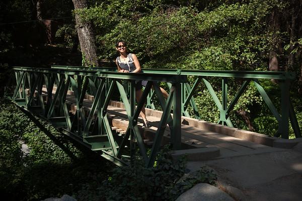Valerie on a bridge