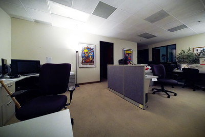 GoPro wide angle view from my desk looking back towards Bob's corner office
