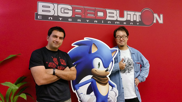 Ryoichi Hasegawa, one of the Japanese producers of the Crash Bandicoot sequels, visits BRB and poses for a shot with CEO Bob Rafei and Sonic the Hedgehog