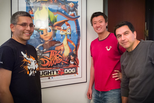NOVEMBER - Jak and Daxter: The Precursor Legacy launched 15 years ago today.  This photo of us, three members of the team that brought those characters to life, was taken last month at Big Red Button...as we wrapped production on The ArcSlinger.