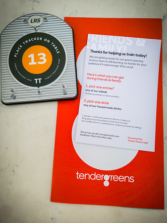 DECEMBER - BRB is invited to another free meal ahead of an opening.  Tender Greens will be Apollo Landing's second opening (after Steak Shack).  Unlike Shake Shack, I have been to a Tender Greens location before...but only once.
