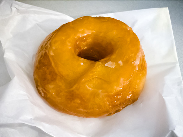 The glazed donut is fresh and still warm by the time I return to the office.  Lightly crispy on the outside and chewy soft on the inside...an excellent sample and a good size too