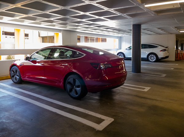 First Model 3 (other than Valerie's) I've seen park on the reserved floors of our parking structure (and second day I've seen it here).