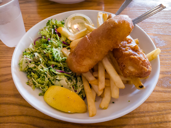 For my second visit to the recently opened Pier 76, I  tried my coworkers' recommendation - Fish & Chips.  The chips could have been crispier, but the beer batter was perfectly crisp on the outside and the cod was light and flaky on the inside. The broccoli slaw could have used more dressing, but the dried cranberries gave it a nice touch of sweetness. Portion size was perfect. Would get this again.
